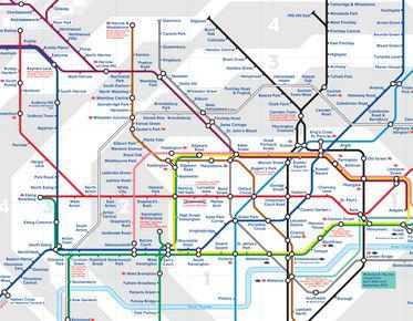 image of the London underground Tube map showing different lines represented by different colours